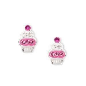 Sterling Silver Crystal Cupcake Stud Earrings